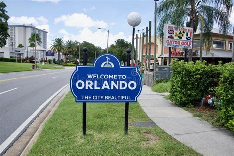 Welcome to Orlando Sign editorial stock photo