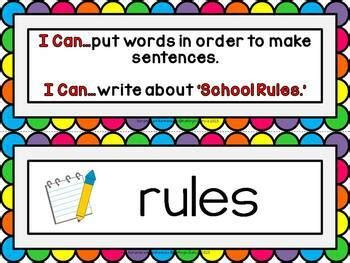 Scrambled Sentences Writing About School Rules   TpT