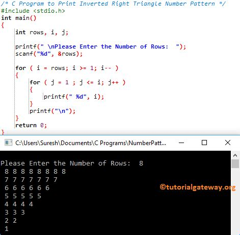C Program to Print Inverted Right Triangle Number Pattern