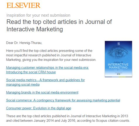 Top cited articles in Journal of Interactive Marketing by